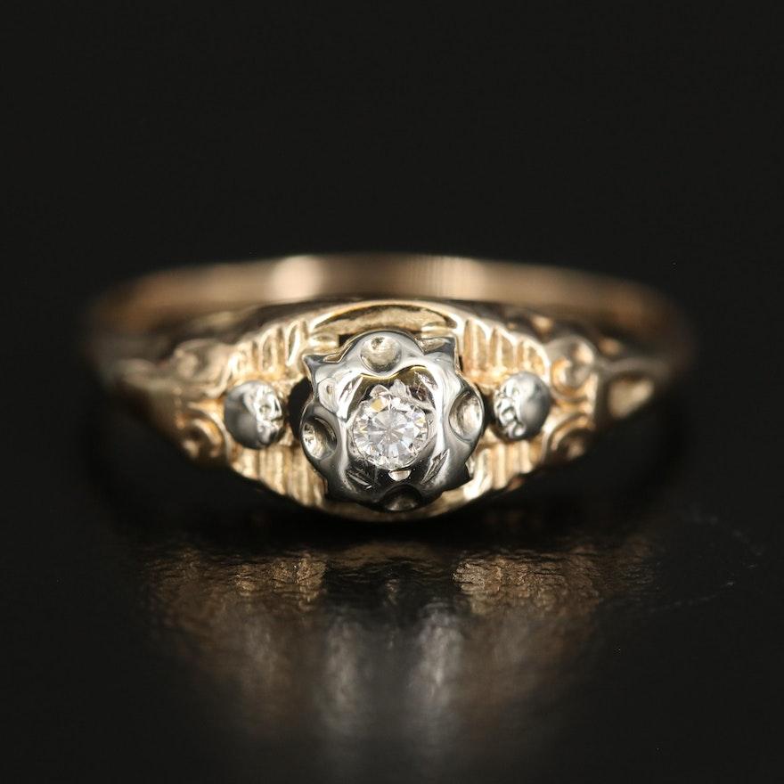 14K 0.04 CT Diamond Solitaire Ring