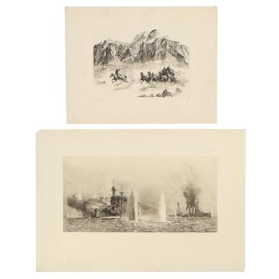 "William Lionel Wyllie Etching & Rotogravure After R. H. Palenske ""Pony Express"""