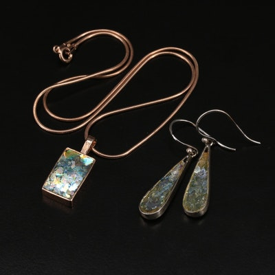 Angie Olami Roman Glass Pendant Necklace and Earrings
