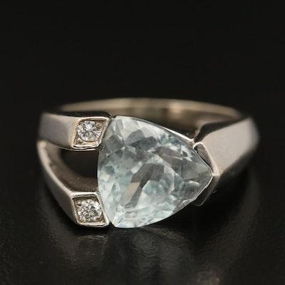Contemporary 14K Aquamarine and Diamond Ring
