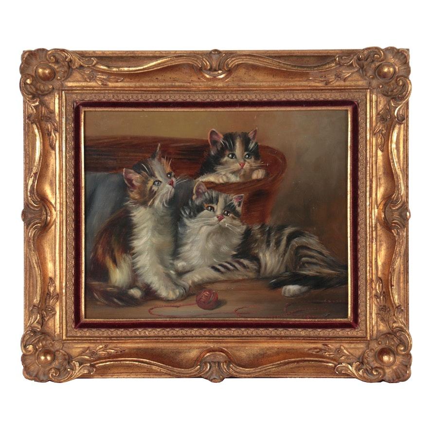 Johannes Josephus Hovener Oil Painting of Kittens, 20th Century