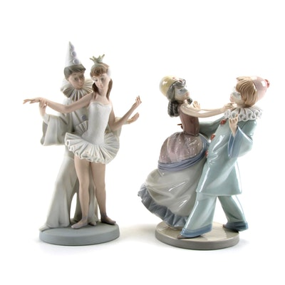 """Lladró """"Masquerade Ball"""" and """"Carnival Couple"""" Porcelain Figurines, Late 20th C."""