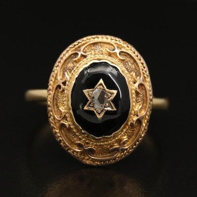 14K Diamond and Enamel Star Ring