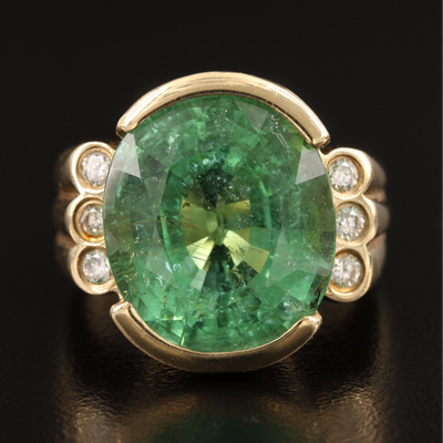 14K 17.12 CT Tourmaline and Diamond Statement Ring