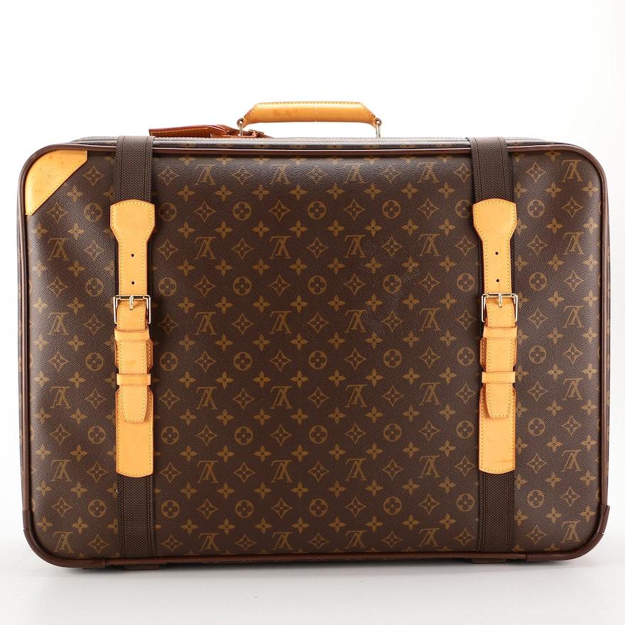 Louis Vuitton Satellite 65 Soft Suitcase in Monogram Canvas with Leather Trim
