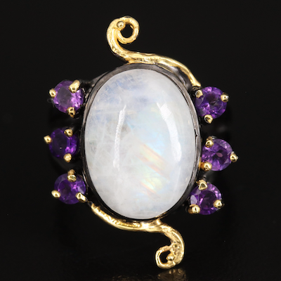 Sterling Rainbow Moonstone and Amethyst Ring