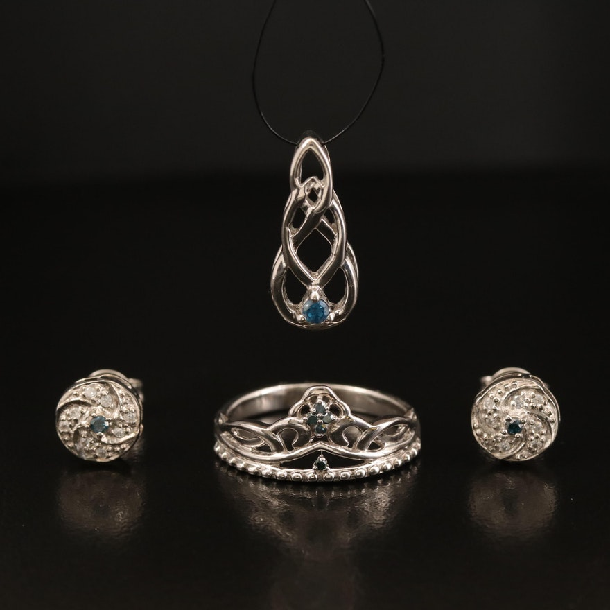 Sterling Diamond and Zircon Pendant, Ring and Earrings