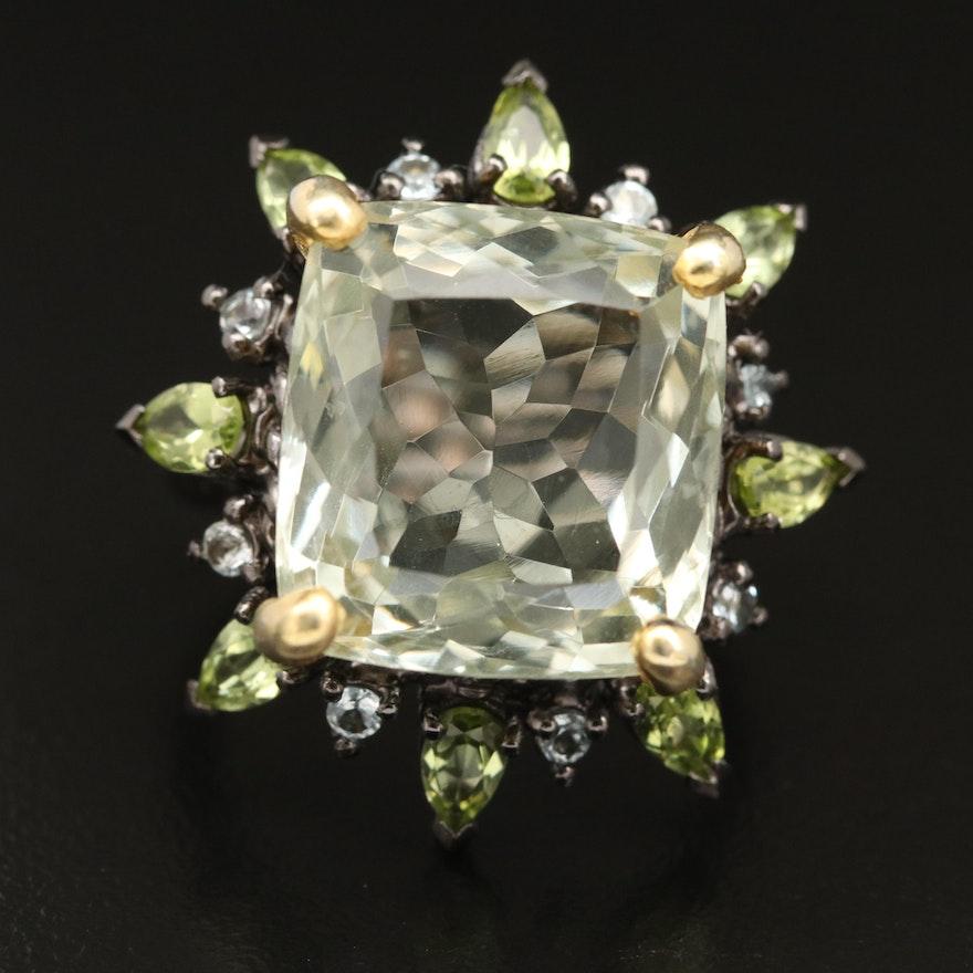 Sterling Silver Prasiolite, Peridot and Topaz Ring