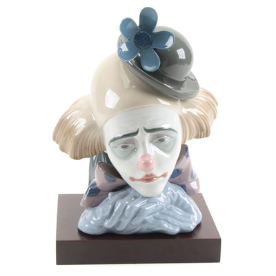 """Lladró """"Clowns Head Bowler Hat"""" Porcelain Bust with Display Stand"""