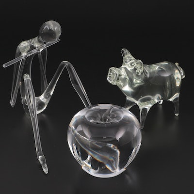 Tiffany & Co. Crystal Apple Paperweight with Other Flame Worked Figurines