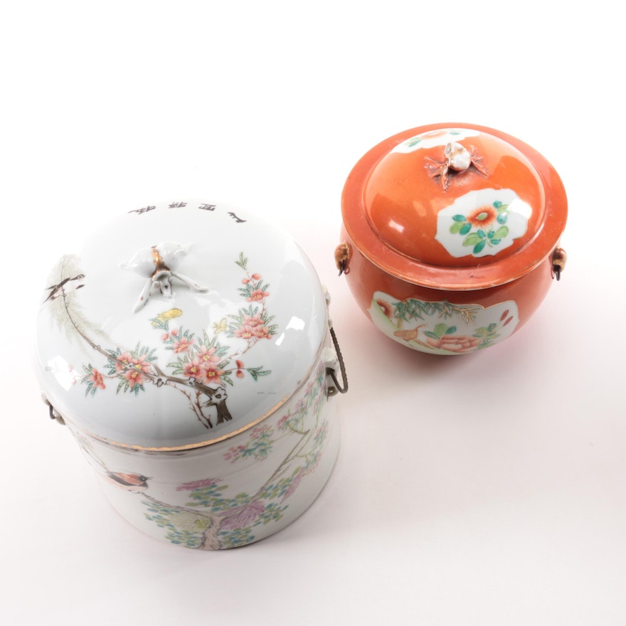Chinese Hand-Painted Porcelain Rice Warmers