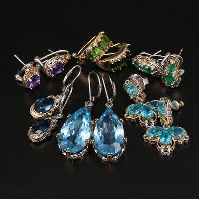 Sterling Silver Topaz and Amethyst Earrings