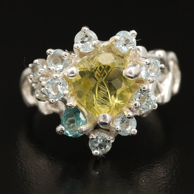 Sterling Silver Citrine Topaz and Aquamarine Ring