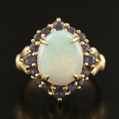 14K Opal and Iolite Ring