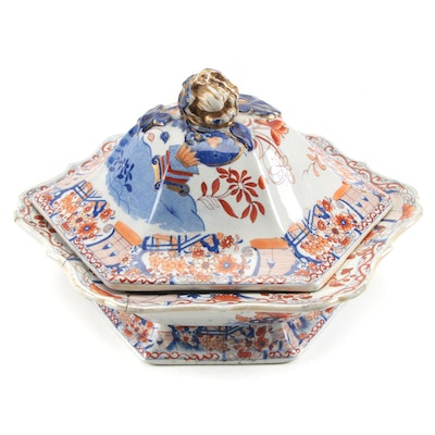 English Imari Ironstone Serving Dish with Stable Repairs, Early-Mid 19th Century
