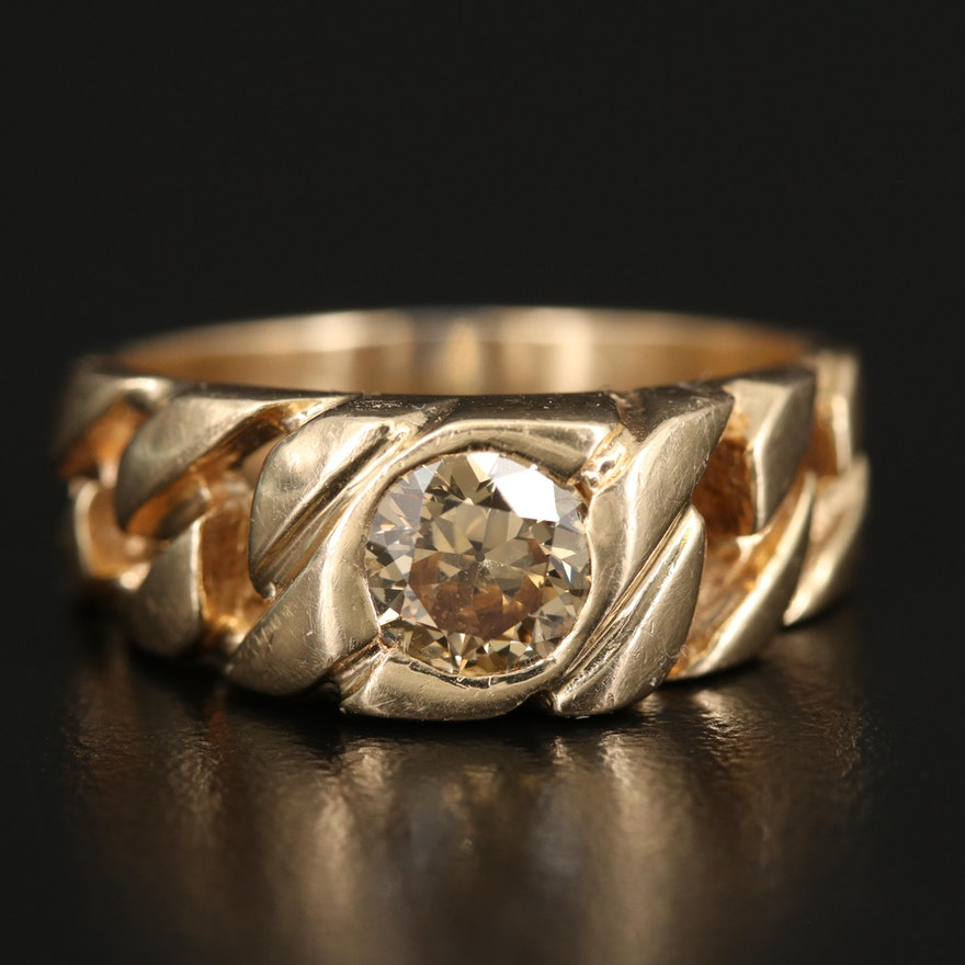 14K 1.06 CT Diamond Ring with Curb Link Detail