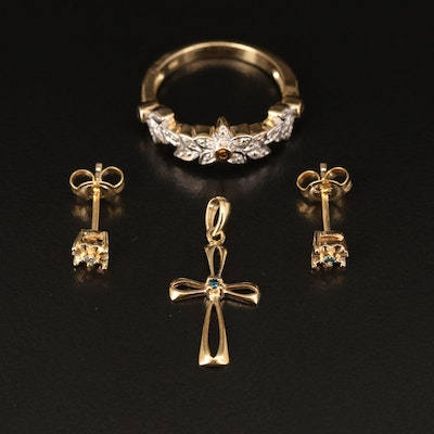 Sterling Cross, Floral Band and Stud Earrings with Diamond and Zircon