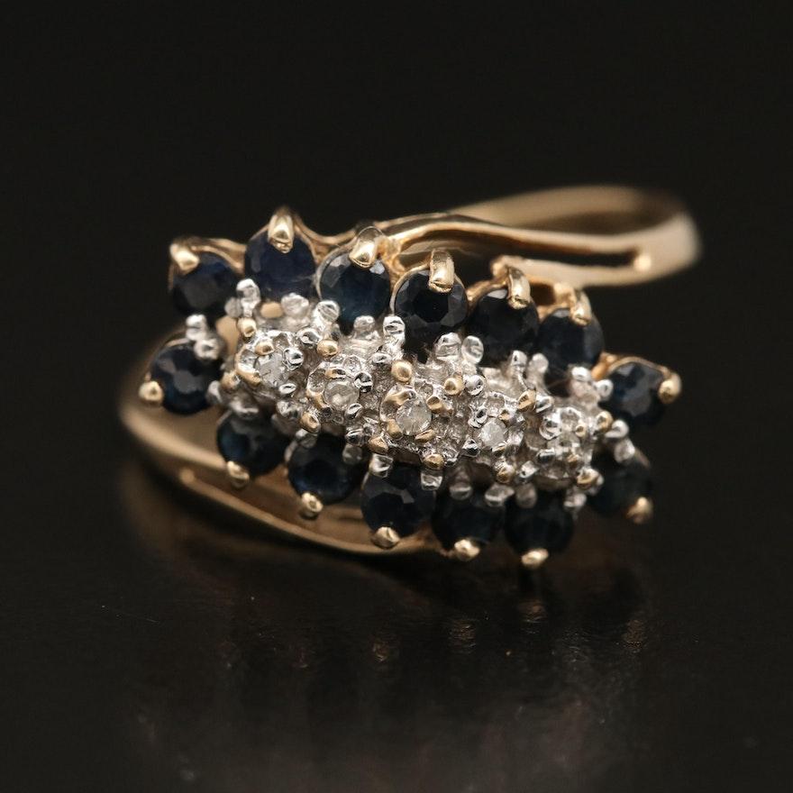 10K Sapphire and Diamond Ring
