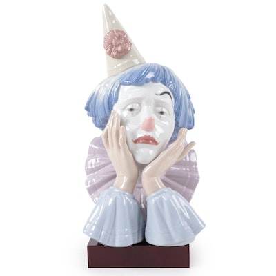 """Lladró """"Clowns Head"""" Porcelain Bust with Display Stand"""