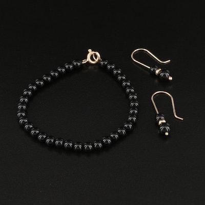 14K Black Onyx Beaded Bracelet and Earrings