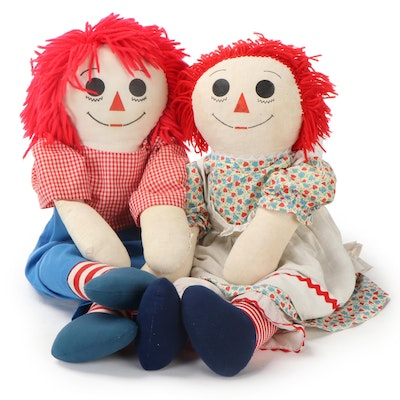 Raggedy Ann and Andy Plush Dolls, Late 20th Century