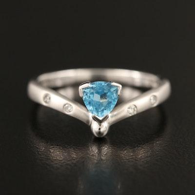 14K Topaz and Gypsy Set Diamond Ring
