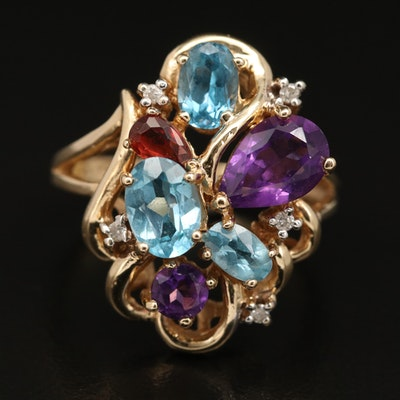 14K Amethyst, Topaz and Diamond Cluster Ring