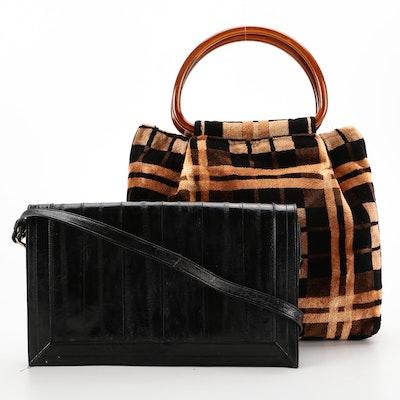 Black Eel Skin Shoulder Bag and Chenille Textile Tote