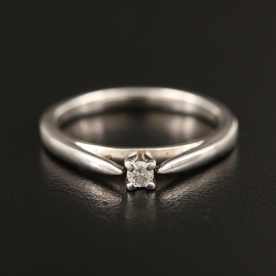 Sterling Diamond Solitaire Ring