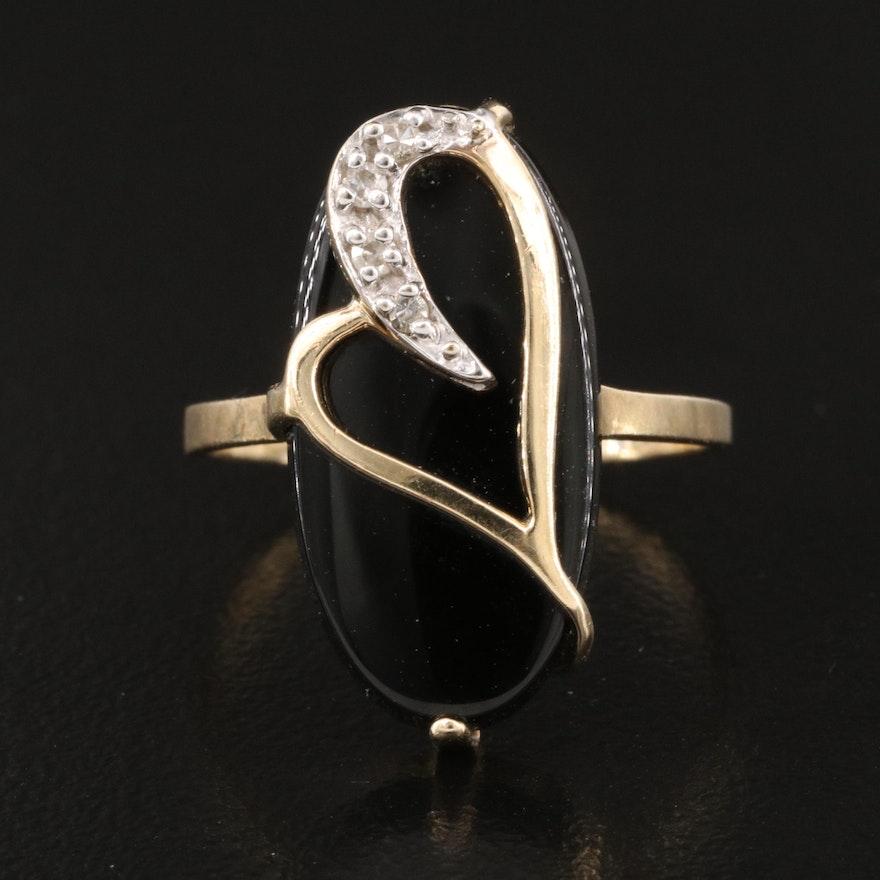 10K Black Onyx and Diamond Heart Ring
