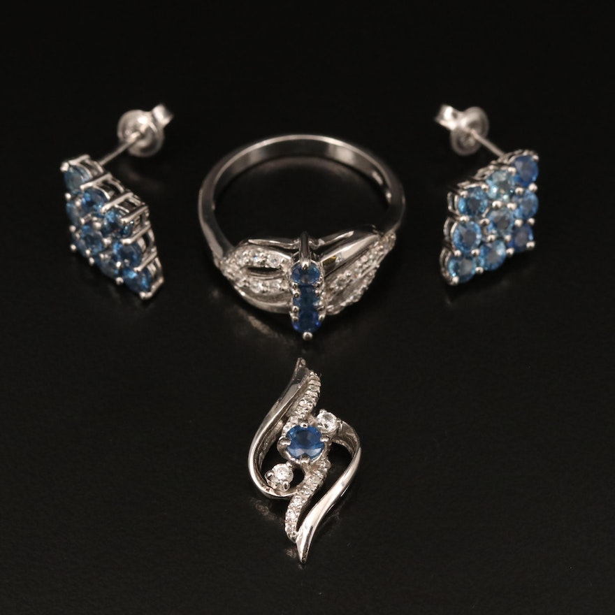 Sterling Sapphire, Zircon and Topaz Pendant, Ring and Earrings