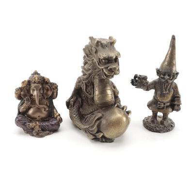 Ganesha, Dragon, and Gnome Cast Metal Figurines