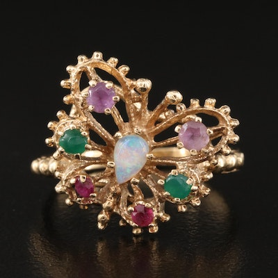 14K Opal and Gemstone Openwork Butterfly Ring