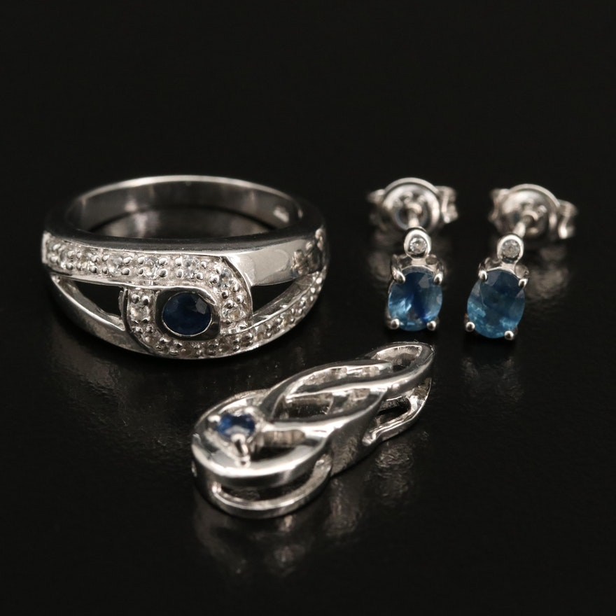 Sterling Silver Sapphire and White Zircon Jewelry Selection