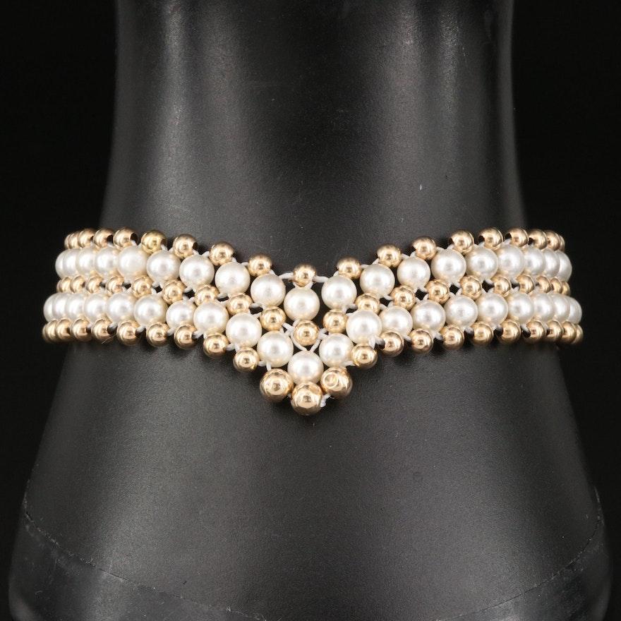 14K Pearl Chevron Bracelet