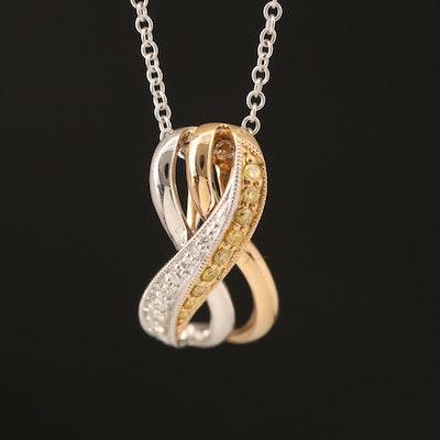 14K Two-Tone Diamond Pendant Necklace