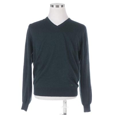 Men's Burberry V-Neck Sweater in Dark Green Merino Wool