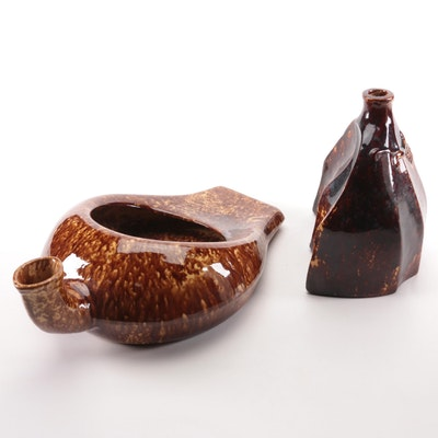 American Bennington Glaze Ceramic Carriage Foot Warmer and Bedpan, Antique