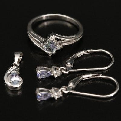 Sterling Silver Tanzanite and White Zircon Jewelry
