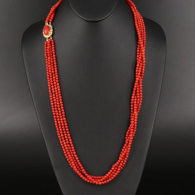 Vintage 18K Multi-Strand Coral Necklace