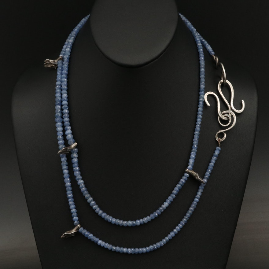 Sterling Beaded Sapphire Station Necklace