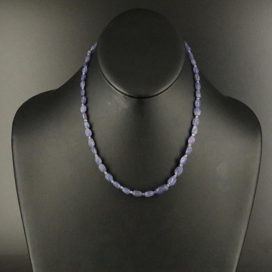 Tanzanite and Diamond Bead Necklace with 14K Clasp