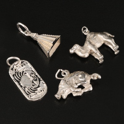 Sterling Silver Pendants Featuring Cancer Zodiac Pendant