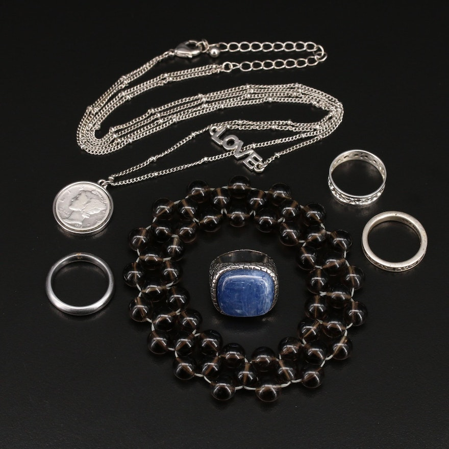 Jewelry Selection Featuring Coin Pendant, Kyanite Ring and Smoky Quartz Bracelet