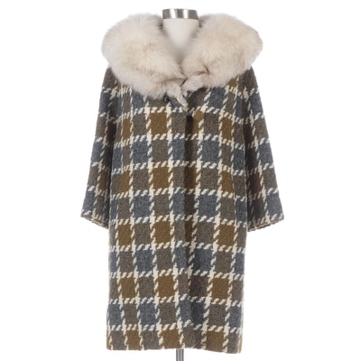 Chunky Wool Knit Check Pattern Coat with Fox Fur Collar