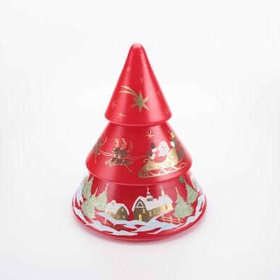 Painted Glass Christmas Tree Shaped Jar