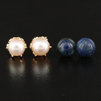 14K Lapis Lazuli Stud Earrings with 10K Pearl Stud Earrings