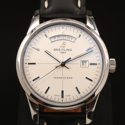 Breitling Transocean Day and Date Stainless Steel Automatic Wristwatch