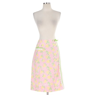 The Lilly by Lilly Pulitzer Floral A-Line Skirt with Lace Trims, 1960s