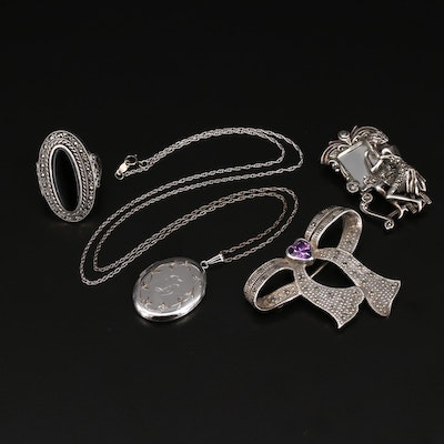 Sterling Jewelry Selection Including Locket Necklace and Black Onyx and Gemstone